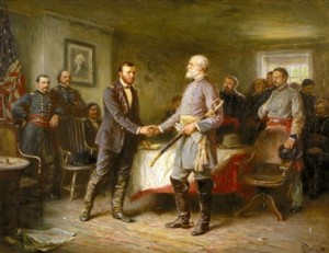 Gen. Robert E. Lee (gray) surrendering to Gen. Ulysses S. Grant (blue)